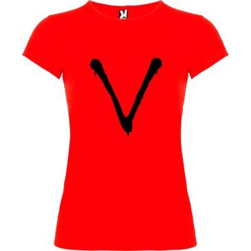 Camiseta para mujer serie tv V en rojo logo negro