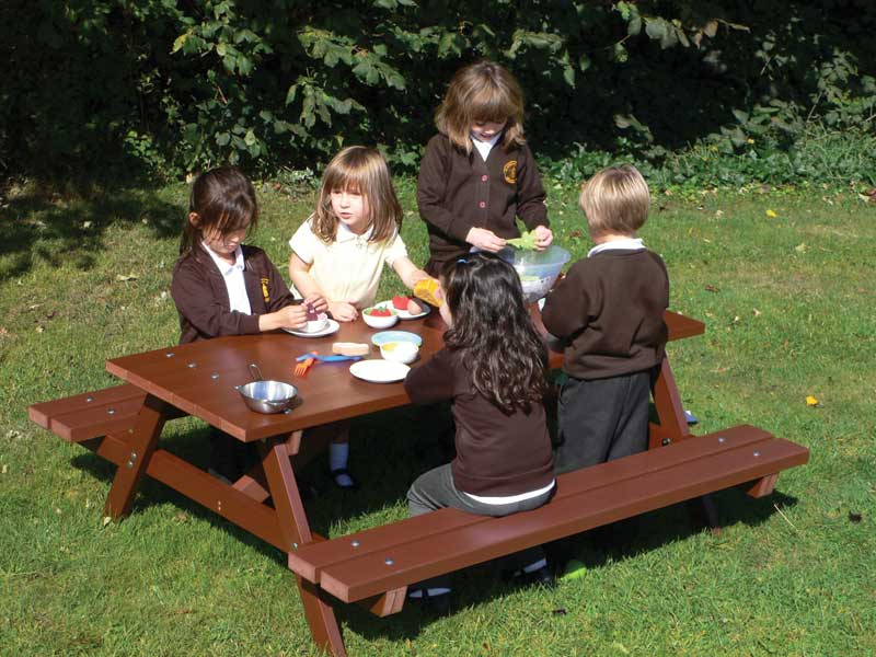 Childrens Kids Picnic Table Recycled Plastic Delux