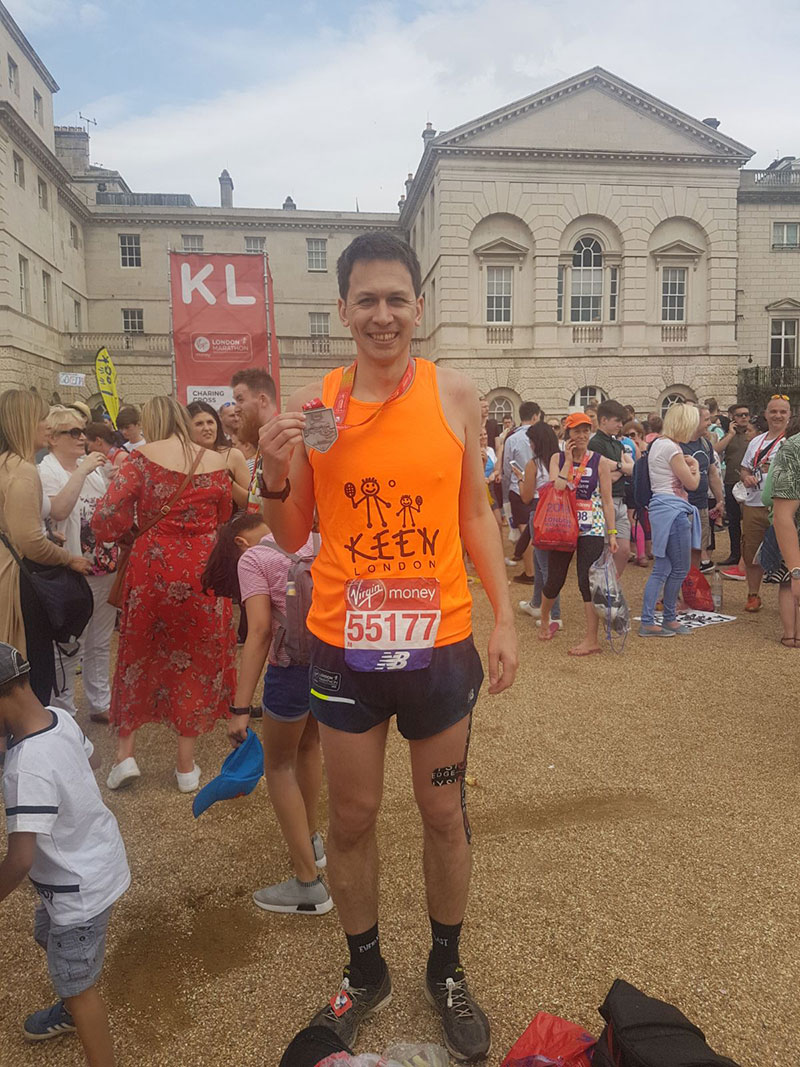 Andrew after completing the London marathon