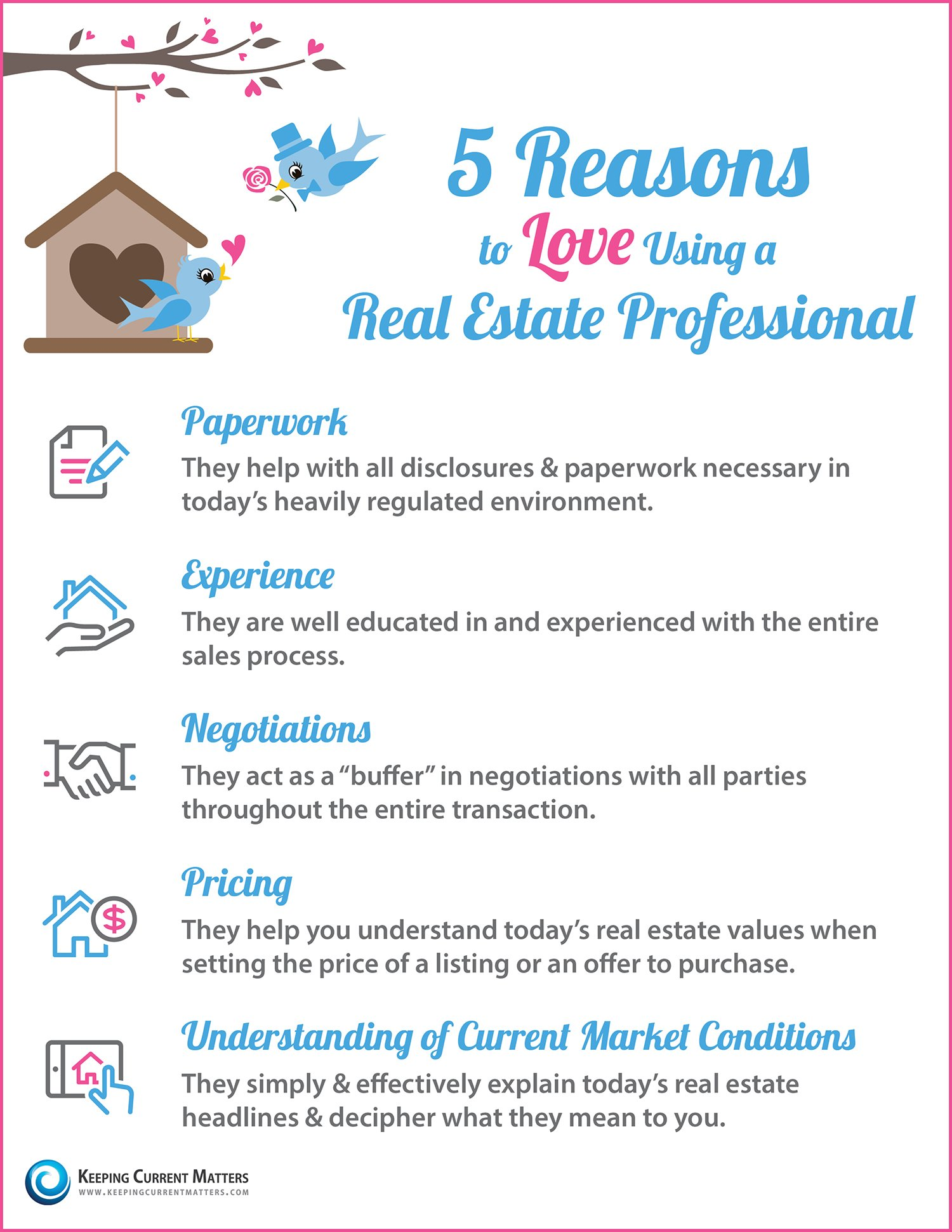 5 Reasons to Love Using a Real Estate Professional [INFOGRAPHIC] | Keeping Current Matters