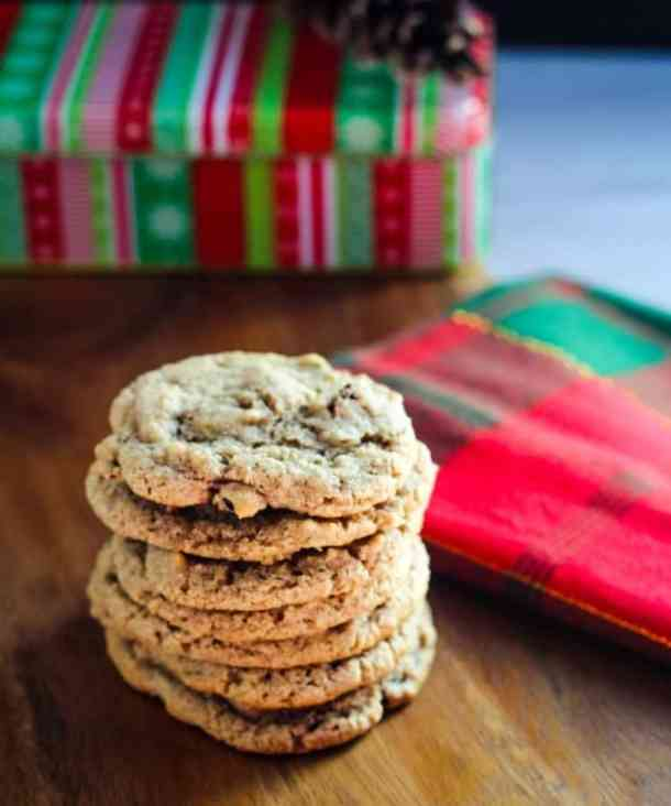 vegan cranberry cookies in a stack