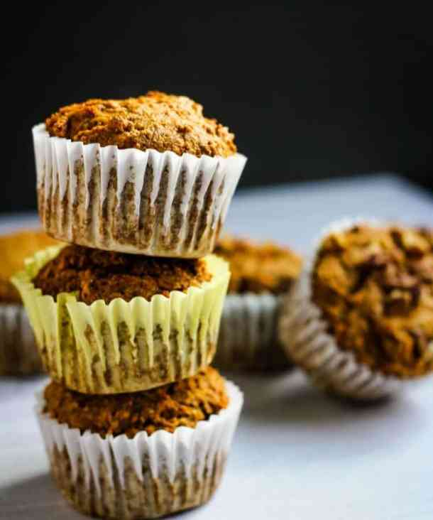 banana carrot muffins in a stack