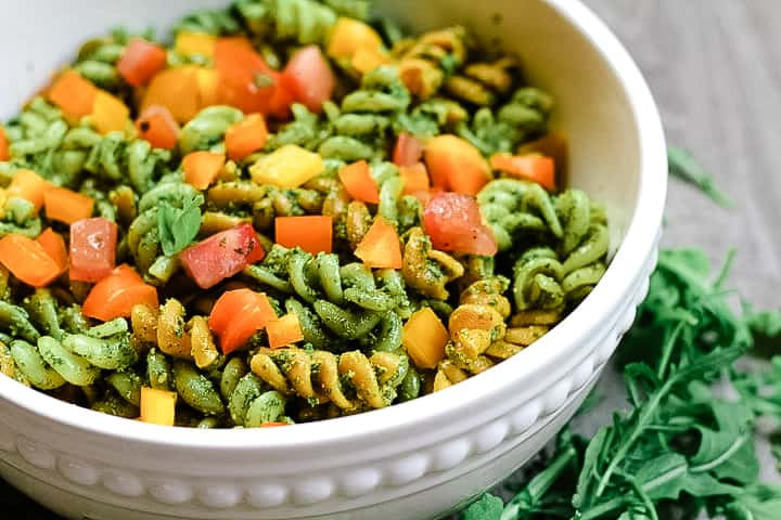 Vegan Pesto Pasta with Arugula and Basil