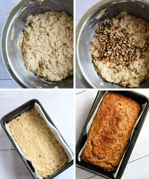 dairy free banana bread cooking steps