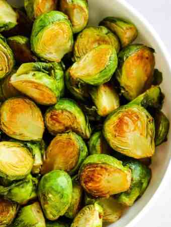 soy sauce brussel sprouts in bowl