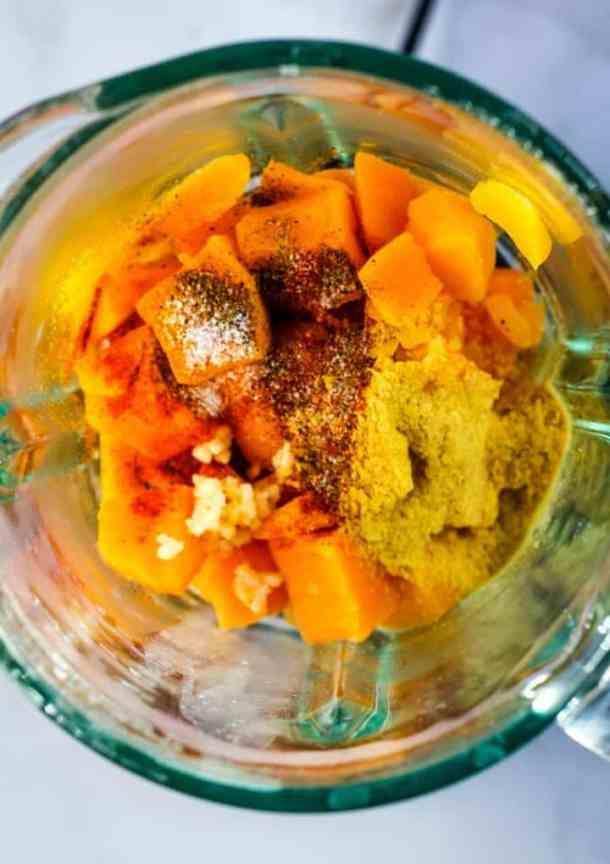 vegan butternut squash mac and cheese ingredients in blender
