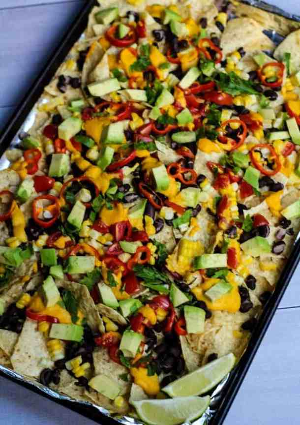 vegan nachos on sheet pan