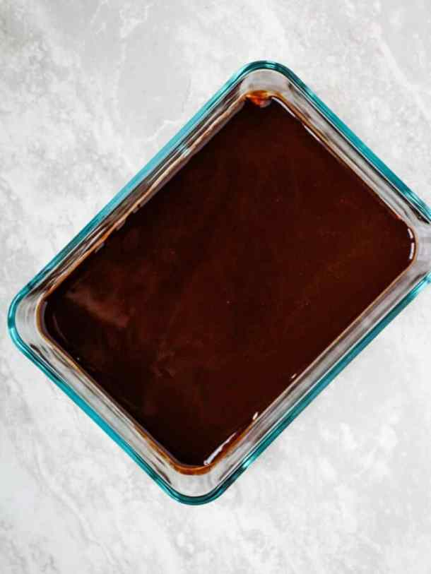 melted chocolate in glass container