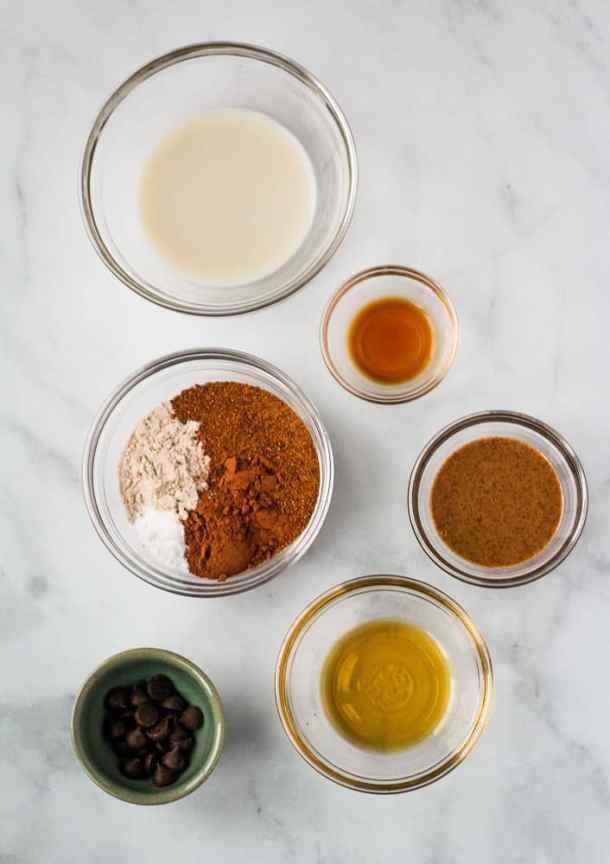 bowls with ingredients for vegan mug brownie