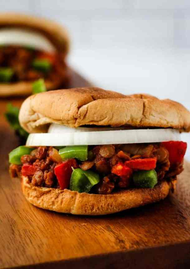 vegan sloppy joes close up