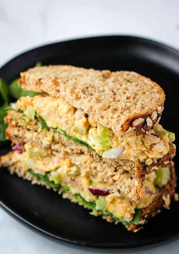 vegan tuna salad sandwich in black bowl