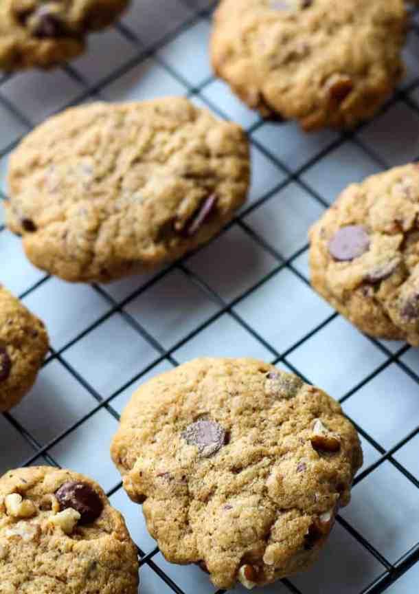 dairy free chocolate chip cookies on rack
