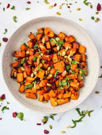 butternut squash topped with pumpkin seeds