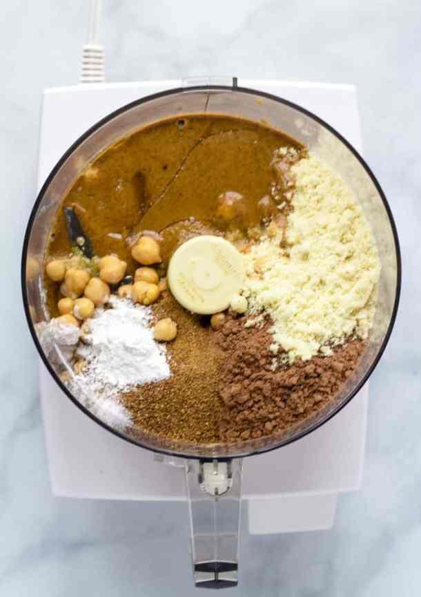 chickpea brownie ingredients in food processor