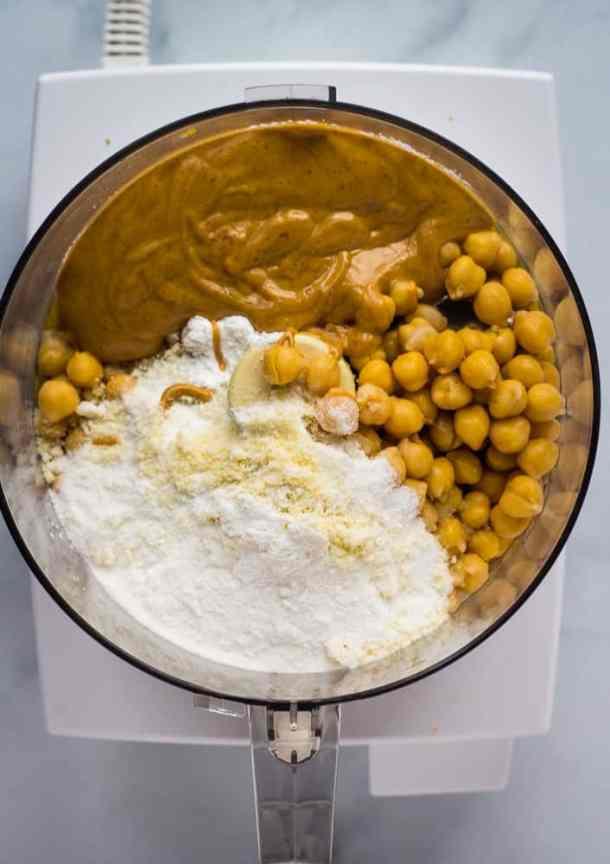 chickpea cookie ingredients in food processor