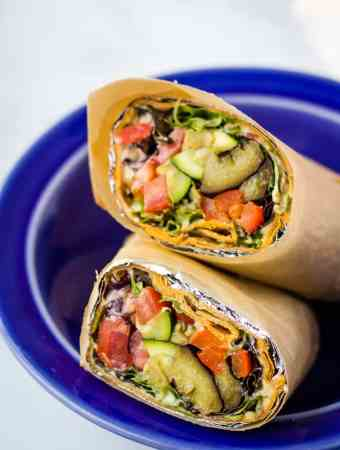 lavash wrap sandwich in blue bowl