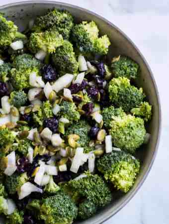 vegan broccoli salad overhead