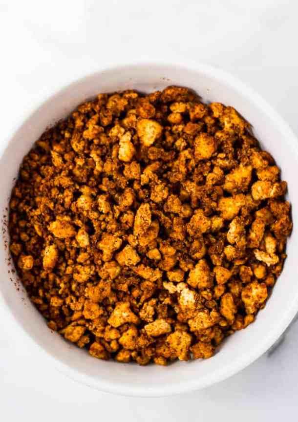 vegan chorizo crumbles in white bowl