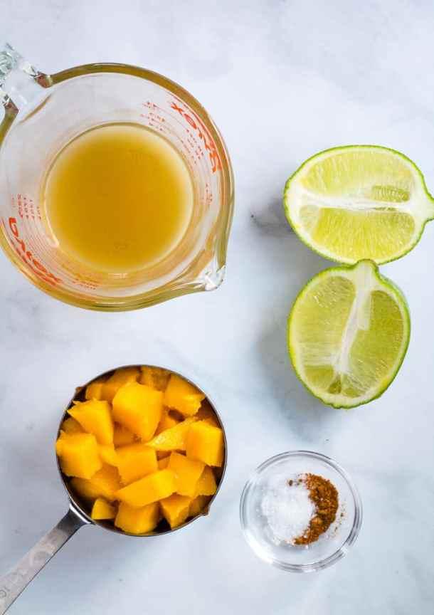 diced mango, lim, vegetable stock, salt and cayenne