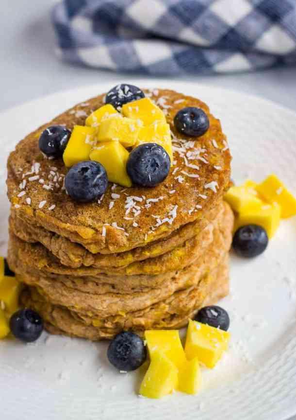 overhead stack of mango pancakes