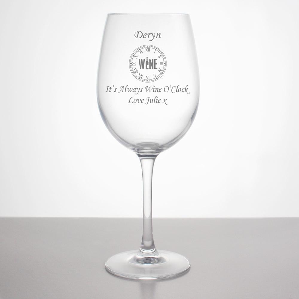 Wine O Clock Personalised Wine Glass