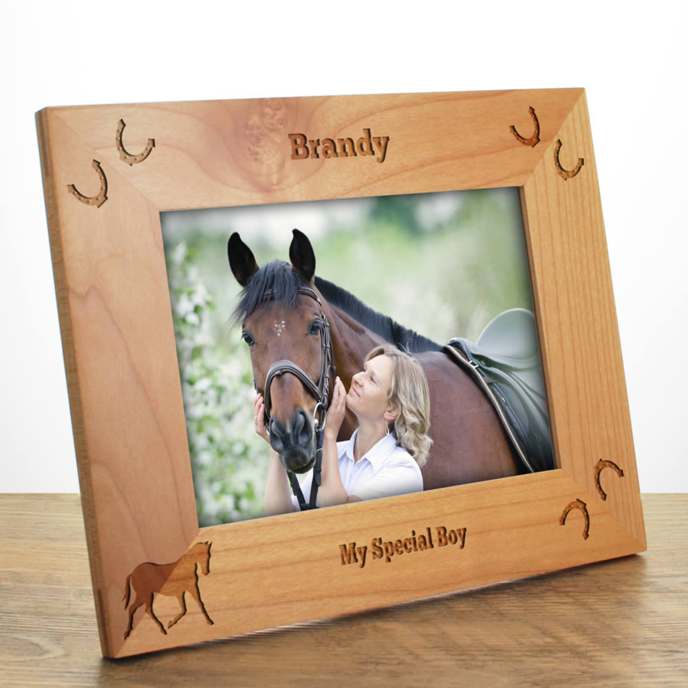 Horse Personalised Photo Frame Made From Solid Maple Wood