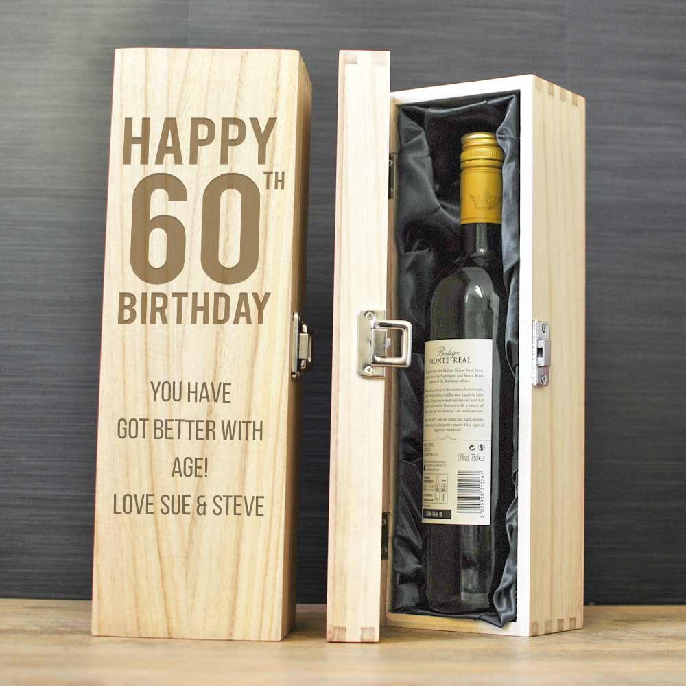 Happy 60th Birthday Personalised Wine Box