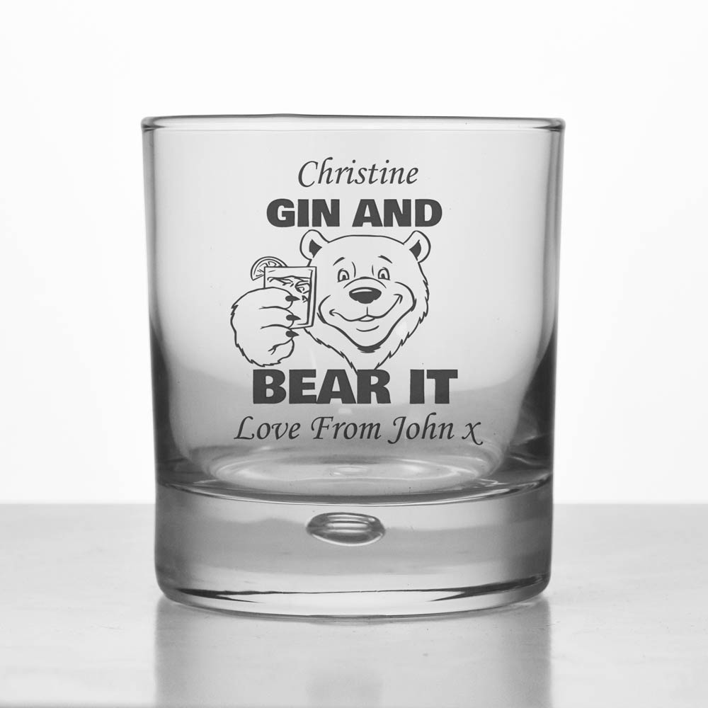 Personalised Gin And Bear It Glass Tumbler