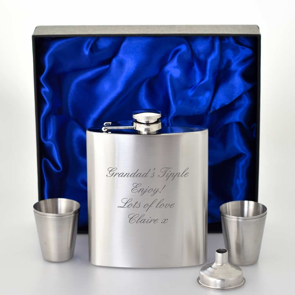 Personalised Stainless Steel Hip Flask With Satin Lined Box
