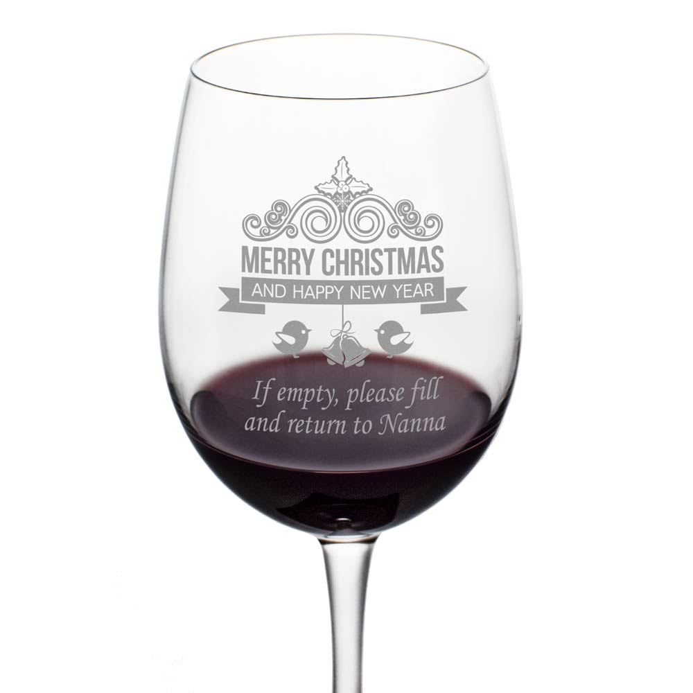 Personalised Christmas Wine Glass