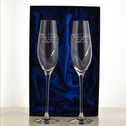 Personalised Swarovski Crystal Love Heart Champagne Flutes