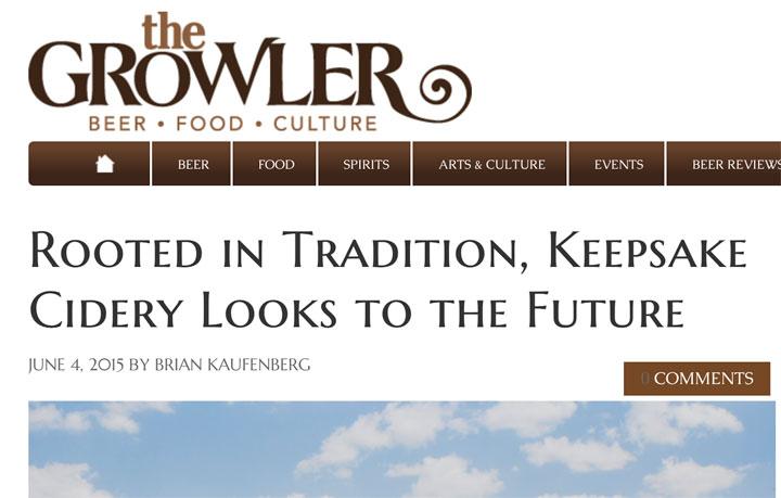 THE GROWLER Magazine write up on KEEPSAKE