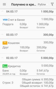 Мобильная Домашняя Бухгалтерия для Андроид - кредиты и долги