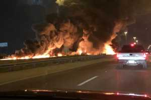 A truck tanker caught fire on I-55 that ignited a taxi. July 14, 2019. Twitter user @kayteabeee