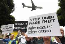 Uber drivers protest in California and NYC during lock-up period.