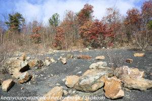 large boulders in strip mine