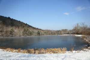 lake in snow