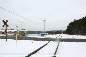 railroad crossing in industrial park