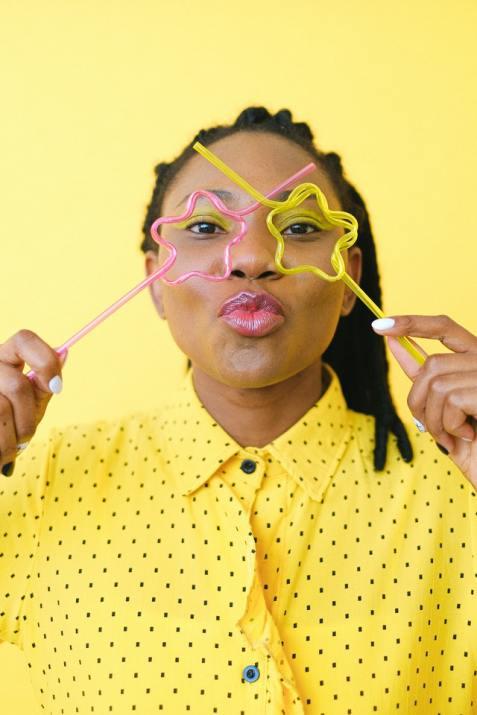 woman yellow background