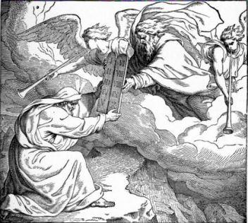Mozes ontvangt de 10 geboden