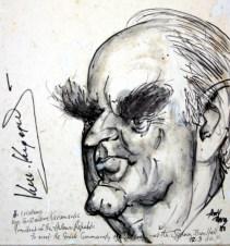 Καρικατούρα του Κωνσταντίνου Καραμανλή... Δεν υπάρχει περίπτωση να έρθει στην Αυστραλία προσωπικότητα από την Ελλάδα και ο Τόνι να μη σπεύσει να φιλοτεχνήσει τη καρικατούρα του. Ολα τα σκίτσα έχουν την υπογραφή του απεικονιζόμενου