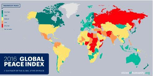 A snapshot of the Global Peace Index 2016