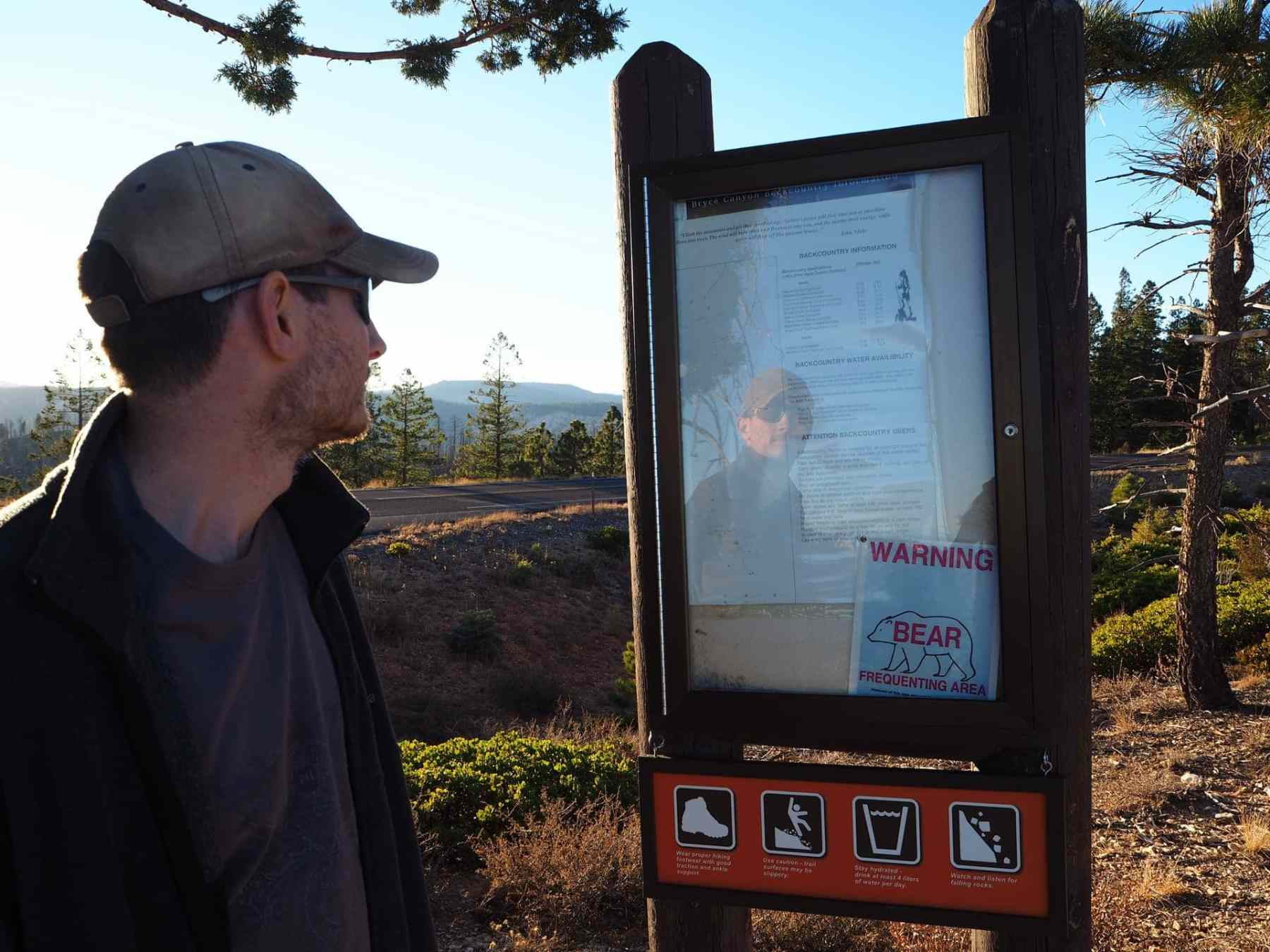 Keith was reading the information, but all I could see was the bear warning!