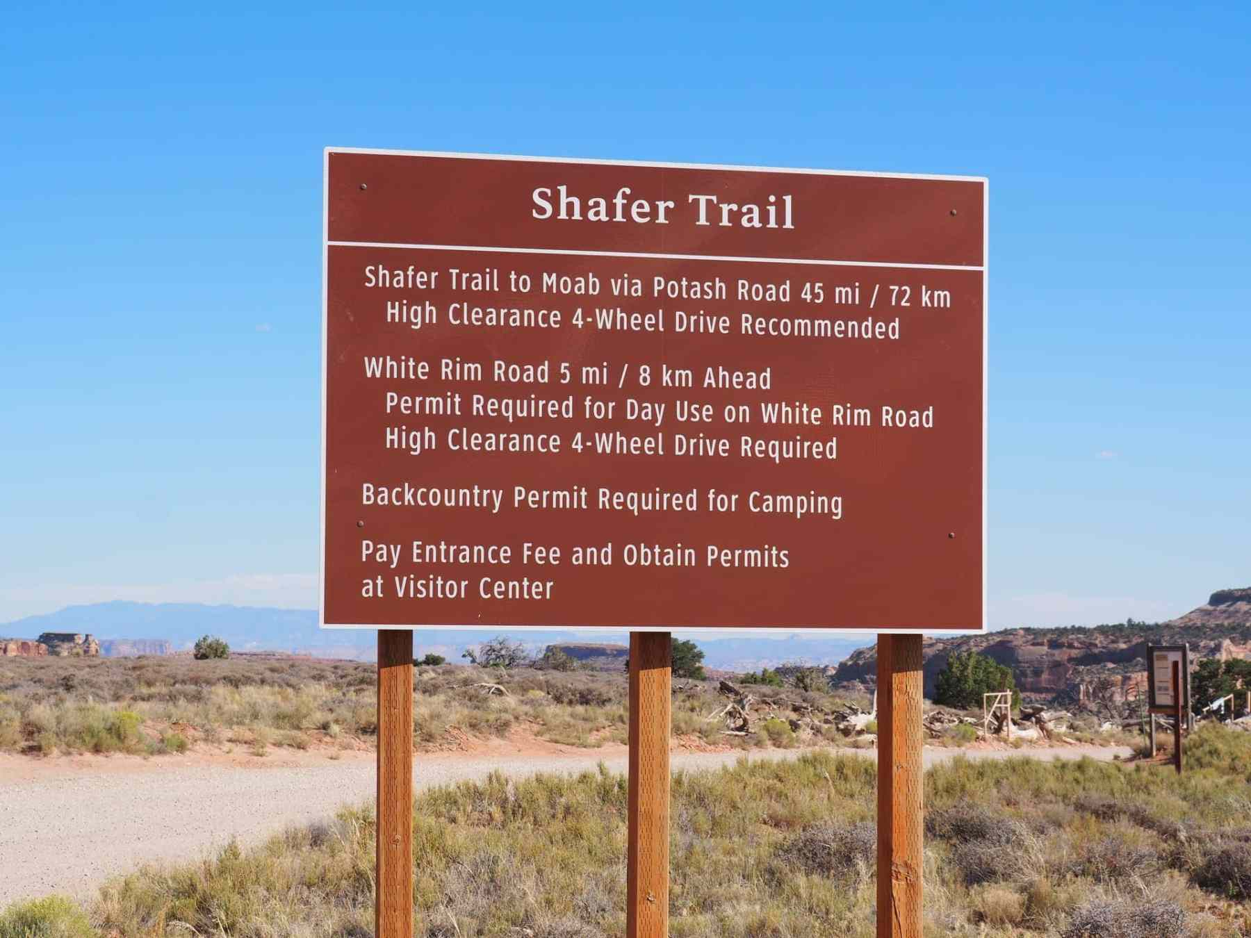 Shafer Trail sign and information