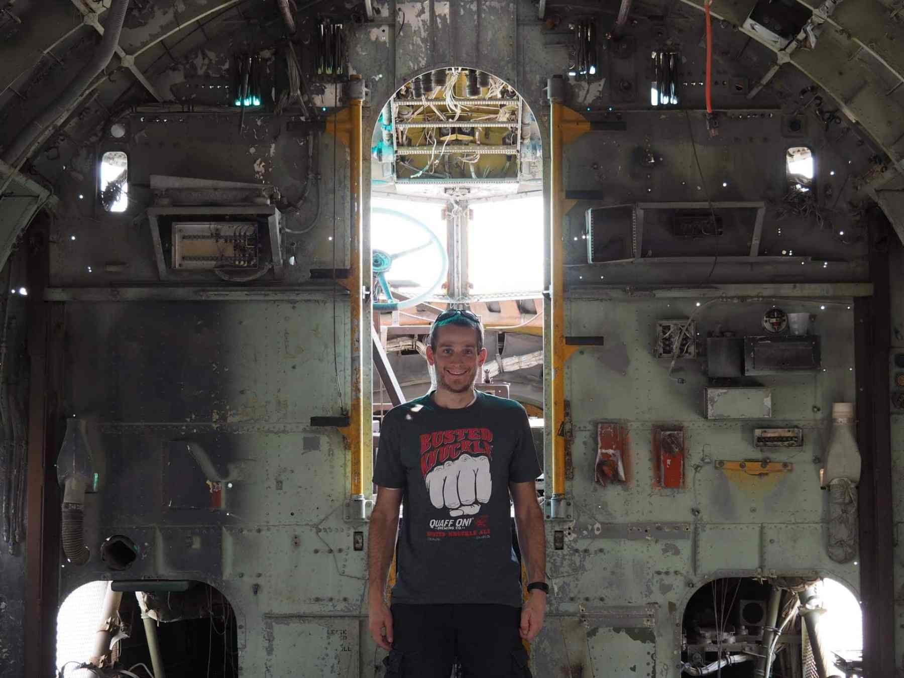 inside the gutted plane
