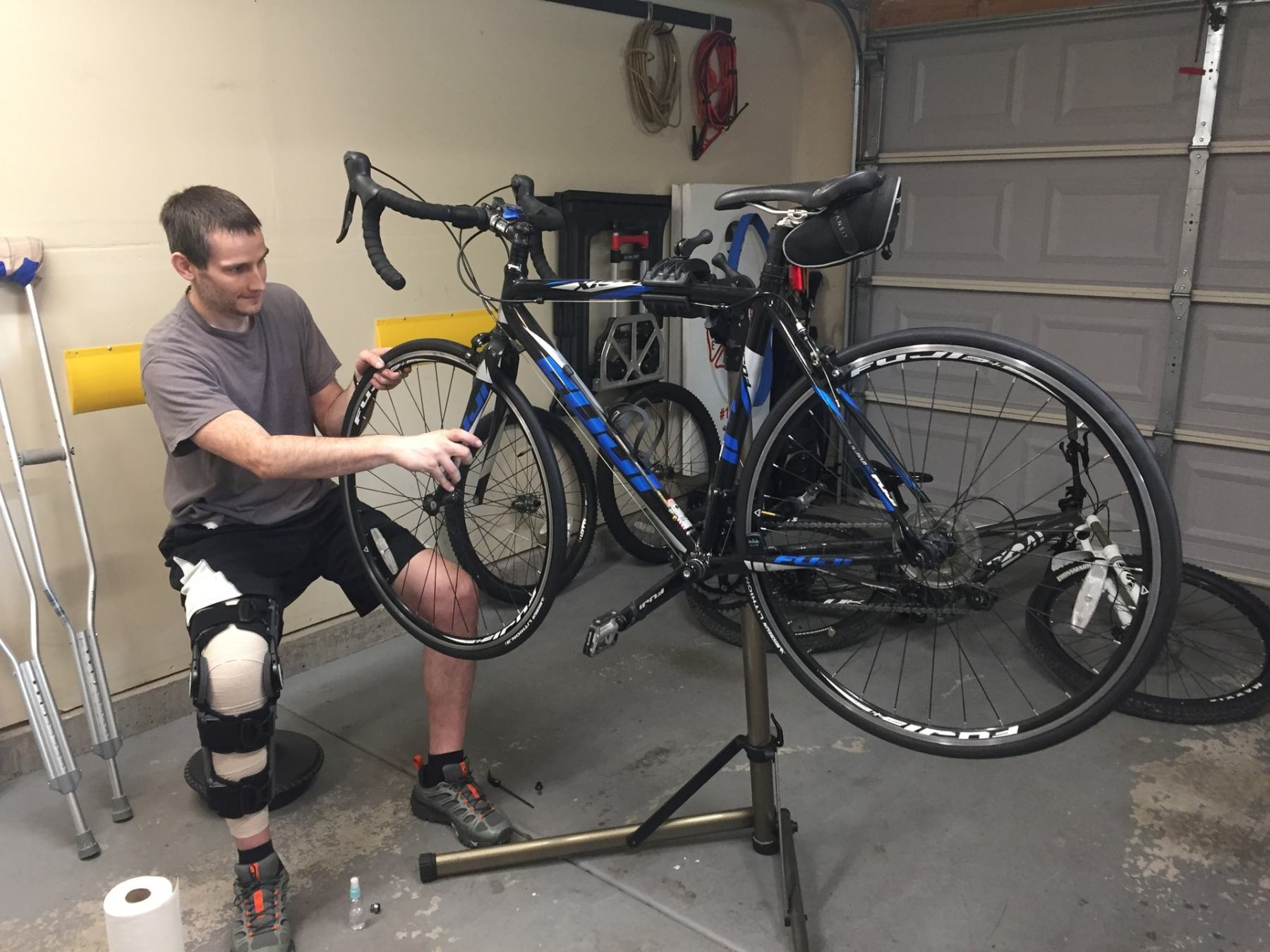 Keith insisted on bike maintenance.  Good thing he has a great assistant!