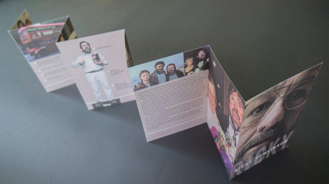 Concertina postcard promo leaflet