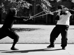 Keith and his brother Colin fencing with longswords during a demonstration at Glasgow University. Photo by Rene Bauer, 2012.