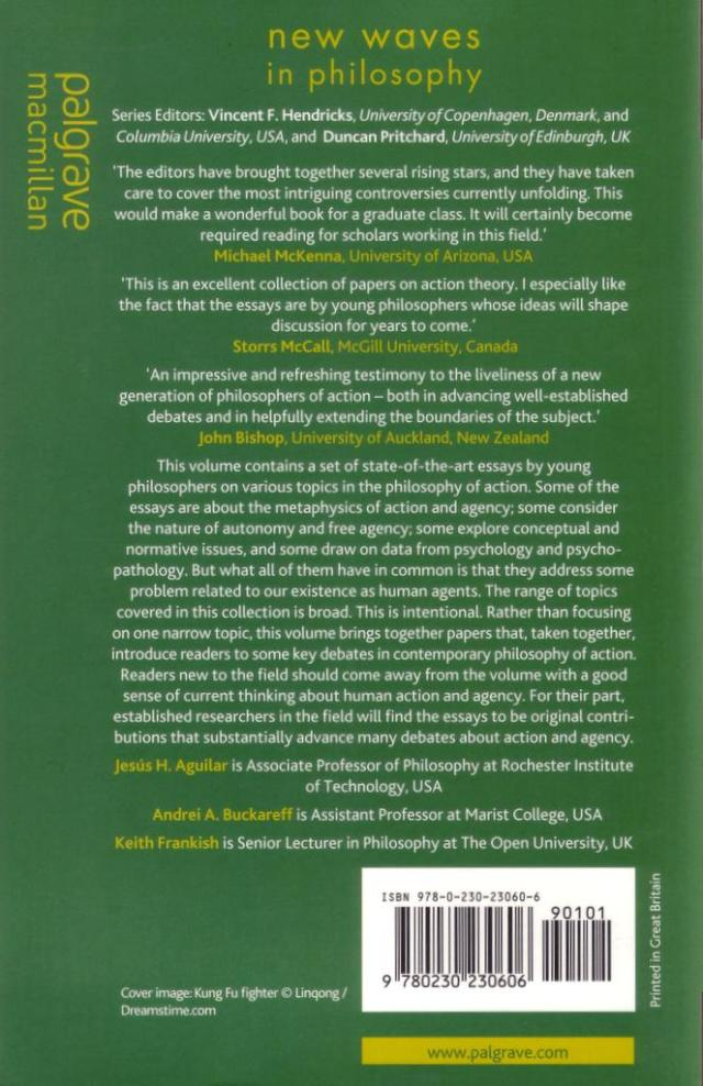 New Waves in Philosophy of Action back cover