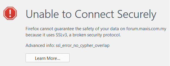 SSL V3 on maxis forum